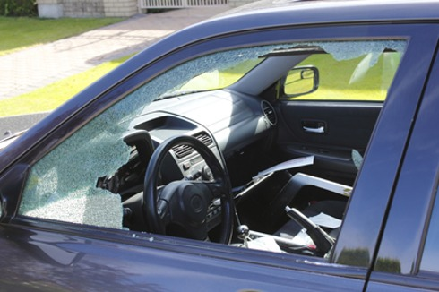 shattered driver's side car window