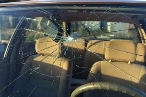 severely cracked automobile windshield