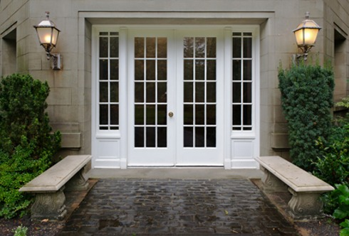 french door entry way with sidelight glass